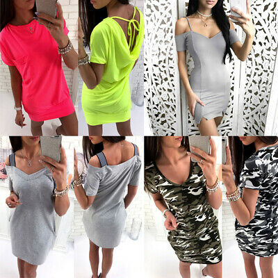 AU Women Camo Lace Up Mini Dress Bodycon Strappy Summer Party Beach Sundress New
