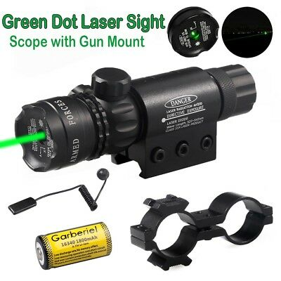 Tactical Hunting Green Laser Sight Dot Gun Rail Scope Remote 16340Battery Switch