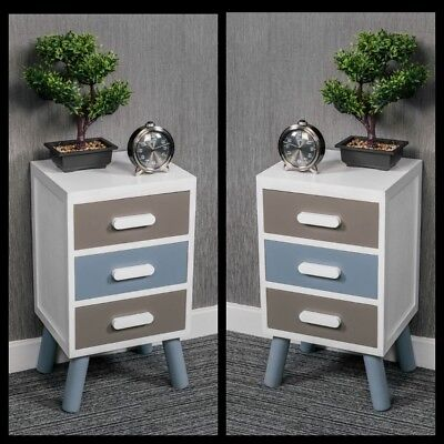 Pair Of Wooden Bedside Tables Shabby Chic White 3 Drawers Cabinet Scandinavian