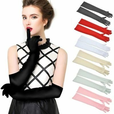 Long Satin Costume Bridal Evening Party Prom Opera Wedding Womens Ladies Gloves
