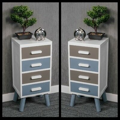 Pair Of Wooden Bedside Tables Shabby Chic White 4 Drawers Cabinet Nightstand New