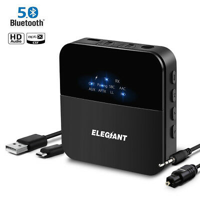 ELE bluetooth 5.0 Transmitter Receiver 3.5mm Audio Adapter For TV PC Car Speaker