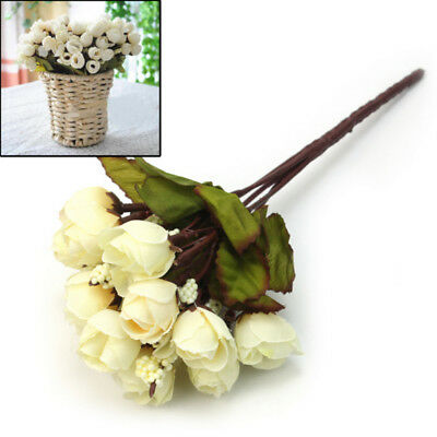 Hot 1 Bouquet Ivory Artificial Silk Roses Flowers DIY Home Party Decoration Chic