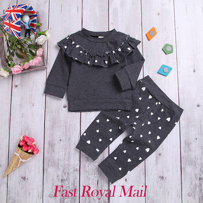 UK Toddler Kids Baby Girl Ruffle Heart Tops Pants Leggings 2Pcs Outfits Clothes
