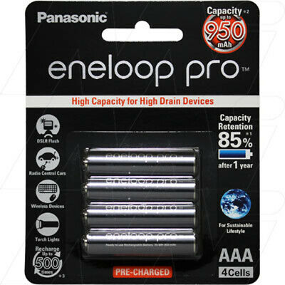 Panasonic Eneloop Pro Rechargeable 4AAA Battery Ready to use 950mAh Capacity