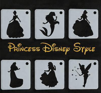Set Stencils 6 Princess Disney Style Reusable Party Decoration Painting Cards