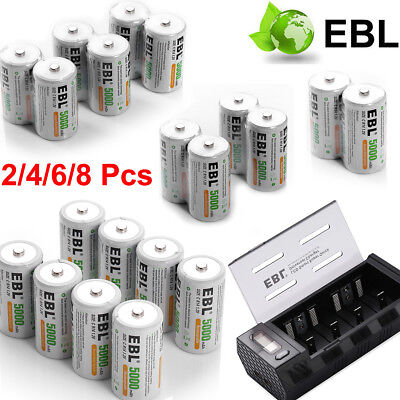 Lot EBL 5000mAh C Size R14 Rechargeable Batteries 1.2V C Cell NI-MH Battery +Box