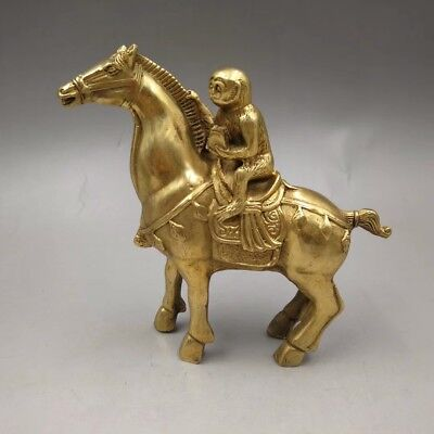 Chinese Antique Old copper hand-made gold-plated horse monkey Home decoration