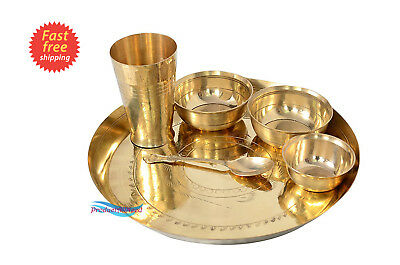 Bronze Hand Maded 6 Piece Dinner Thali Set|1 Dinner Plate 2 Bowl 1 Rice Plate 1