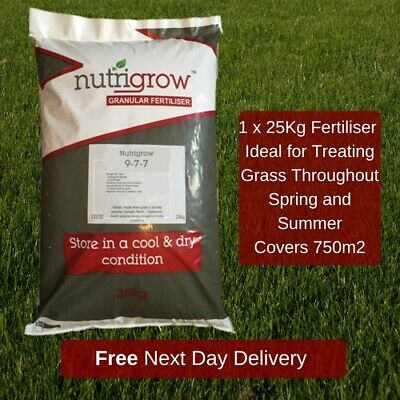 Lawn Fertiliser 9 7 7 Make Grass Grow Nitrogen N P K 25Kg Covers 750M2