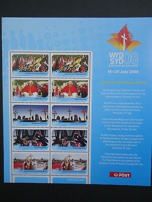 2008 POPE BENEDICT souvenir sheet of stamps, World Youth Day 2008, WYDSYD2008