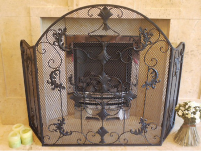 Vintage Antique Iron Ornate  Arched Mesh Fire Guard Screen Surround Black 2724