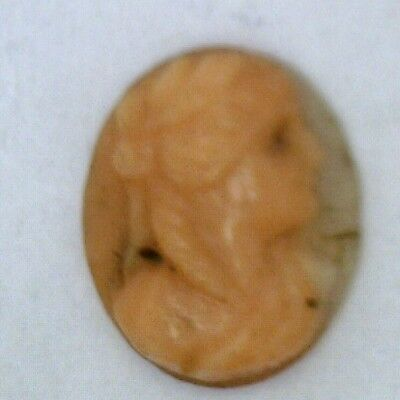 NOS New Antique Vintage Oval Small CORAL Cameo Stone 11.5 mm x 9.5 mm