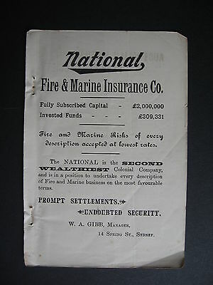 National Fire & Marine Insurance W A Gibb Manager 1901 Advert