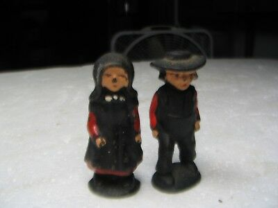Vintage Metal Cast Iron Hand Painted Amish Couple Figures 2""