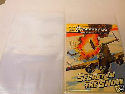 PACK OF 100 x EARLY SIZE COMMANDO COMIC BAGS. INCLUSIVE OF U.K. POSTAGE