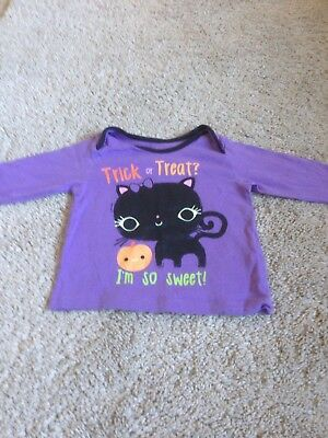 Trick or Treat I'm so sweet Lilac/Purple Halloween top black cat M&S 6-9 months