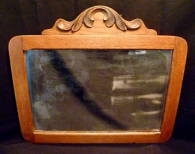 """20"""" VICTORIAN Antique OAK WOOD Wall Hanging MIRROR Beveled Glass CARVED CROWN"""