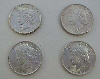Lot of Four $1 PEACE Silver Dollars, Uncirculated Cond., 1922-1923-1925-1926-S