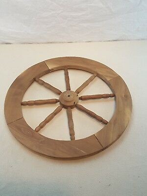 Vintage Spinning Wheel Spindle Wood Spoked Wheel Part  ~ 21 inch