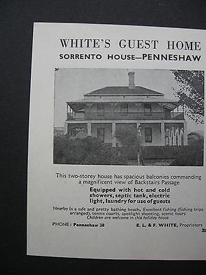 White's Guest House Penneshaw E L & F White 1951 Advert.