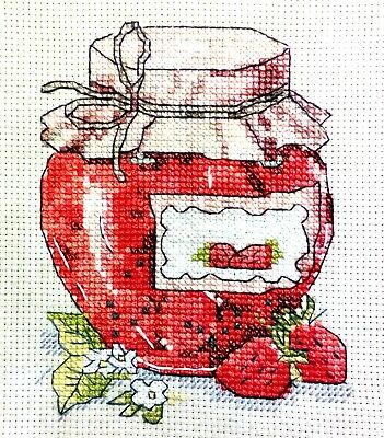 Strawberry Jam - 10.5' x 7' Finished, Completed, Cross Stitch Piece
