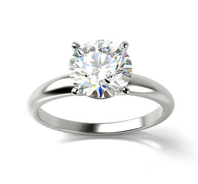 1.06ct VS2 G Certified Diamond Round Solitaire Engagement Ring 14K White Gold