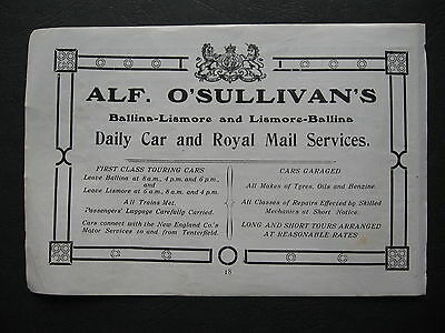 Alf O'Sullivan Daily Car & Royal Mail Service Ballina Lismore 1919