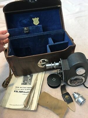 Vintage Bell and Howell Double Run Eight Cine Camera in original case with instr