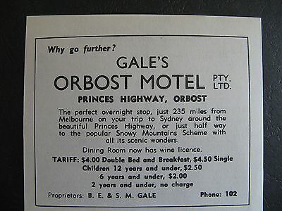 Gale's Orbost Motel BE Gale 1966