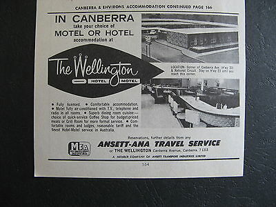 The Wellington Motel Canberra 1966 Advert