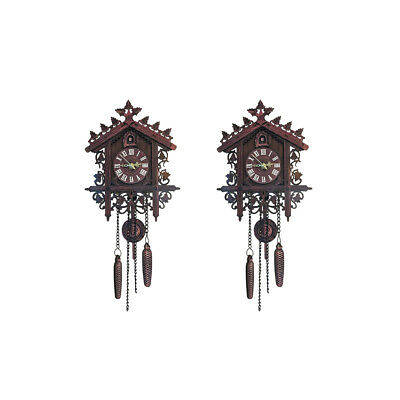 2Pcs Retro Wood Cuckoo Wall Clock with Pendulum~Deep Decor Excellent Gift
