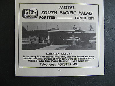 South Pacific Palms Yuncurry Forster 1966 Advertising
