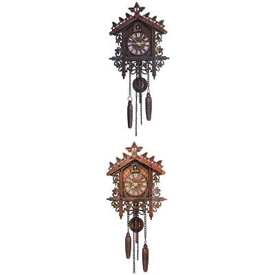 2Pcs Retro Wood Cuckoo Wall Clock with Pendulum for Living Room Decor 2Color