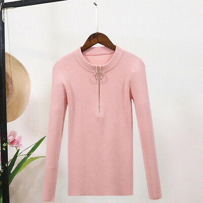 Autumn Women Slim O Neck Knit Sweater Zipper Pullover Long Sleeve Sweater shan