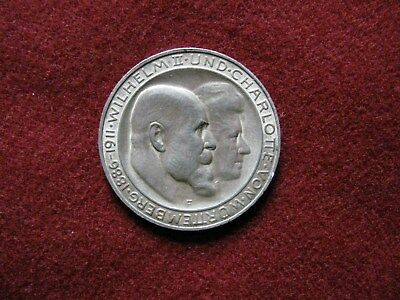 Wurttemberg. Wedding Commemorative Coin of 3 Mark. 1911