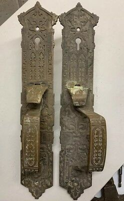 Antique Vintage Bronze Eastlake Door Plates Pulls 1880 Brass Hardware Repurpose