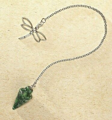 Ruby Zoisite Crystal Pendulum w/ Dragonfly Pendant Dowsing Tool - Comes w/ Pouch