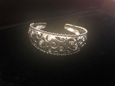 Vintage .925 Sterling Silver Cuff Bracelet w/ crystals made in Taxco Mexico 21g*