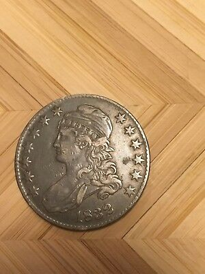 1832 Capped Bust Half Dollar 50C US Type Coin LETTERED EDGE