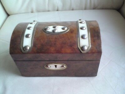 Antique Victorian Burr Walnut Veneer ? dome topped brass Strapped Box,USED.