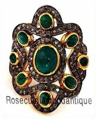 HAND-MADE SILVER 925 ANTIQUE ROSE CUT DIAMOND 2.68ct EMERALD VINTAGE DESIGN RING