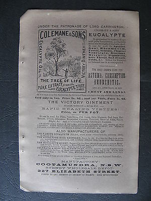 Colemane & Sons Eucalypte Oil 2227 Elizabeth St NSW 1888 Advertising