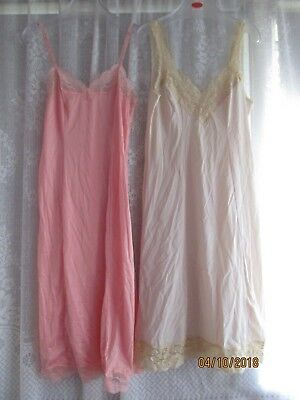 "FORMFIT &BERLEI"" FULL SLIPS x 2.VGC.Size 12.RIBBON STRAP-ADJUSTABLE.LOVELY LACE."