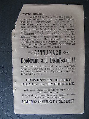 Cattanach  Deoderant & Disinfectant 1888 Advertising Pitt St Sydney