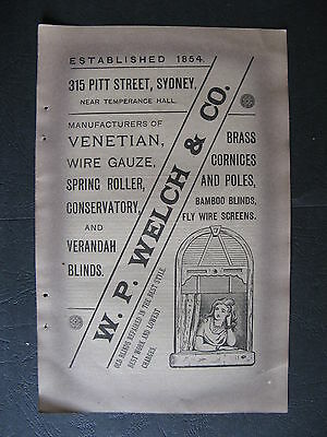 W P Welch & Co 415 Pitt St Sydney Venetian Blinds Cornices 1888