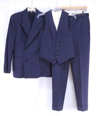 mens navy blue stripe VINTAGE 40s 3pc PANT SUIT double breasted gangster 38 R
