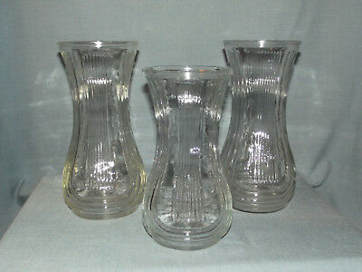 Lot Of 3 Vintage Hoosier Ribbed Clear Glass Vases