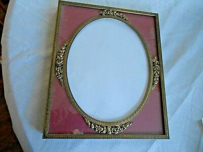 """Rare Metal Ornate Picture Frame 11"""" X 9"""" ( with oval opening ) Victorian Antique"""