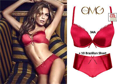 Ultimo OMG Lipstick Red Satin   French Guipure Lace gel Bra Set 34A   10  Short 8450377d4